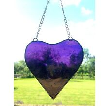 Handmade Stained Glass Heart Suncatcher Tiffany Technique Purple Glass