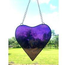 Handmade Stained Glass Heart Suncatcher Tiffany Technique Purple Glass