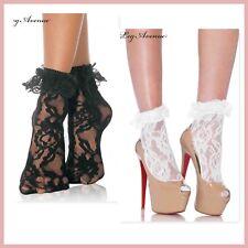3030 Leg Avenue 50s Lolita lace anklet with ruffle ankle socks white black nylon