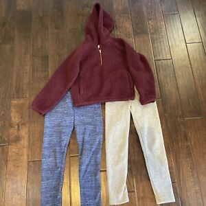 Old Navy girls fleece lined leggings and sweater size 10-12