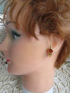 Solid 18K Yellow GOLD Natural Madeira Heart Citrine Bezel Set Diamond Earrings