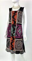 Etro New 6 US 42 IT M Black Orange Purple Stretch Knit Cotton Dress Runway Auth