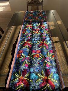 Handmade Birds Florals Embroidered Mexican Table Runner Bohemian Camino de Mesa