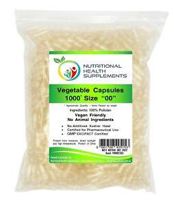 1000 Size 00 Empty Pullulan Veggie Capsules Vegetable Vegetarian Vegan Caps Pill