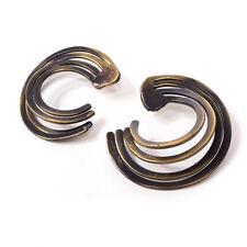 Vintage Einzigartig Mid Century Durchbohrt Messing Metall Schlaufe Ohrringe