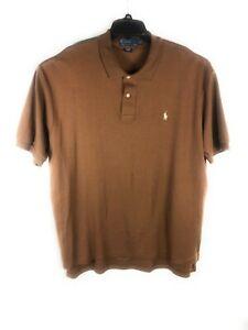 Polo Ralph Lauren Men's 2XL XXL Brown Short Sleeve Button Cotton Shirt A68