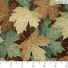 Stonehenge Maplewood Cotton Quit fabric Northcott Woodland Green 22019-35 Leaves
