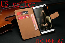 Black Luxury Leather Flip Card Wallet Case Stand Cover Skin For HTC ONE M7