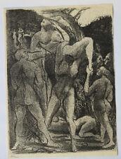 1955 René-Jean CLOT Lithographie originale en noir 1/200 Les Possédés Enfer