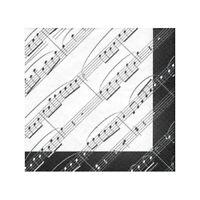 Music Notes Napkins, 1 Pack (20 ct) - Musical Birthday, Picnics, Black and White