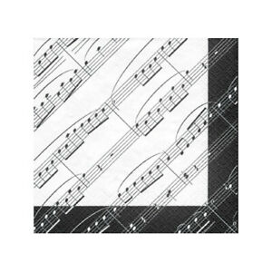 Music Notes Napkins, 1 Pack (20 ct) - Musical Birthday, Picnics, Black and White