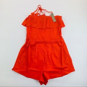 J. Crew Women's Cotton Summer Sheer Ruffle Romper Cerise Red Size S NEW NWT