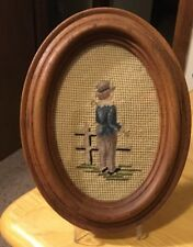Boy At Fence Framed Oval Needlepoint