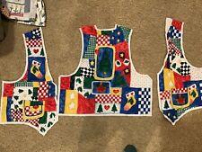 Christmas vest Fabric Panel Pre Cut Stockings, stars , trees. S to Xl Vintage