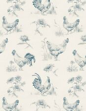 EARLY TO RISE CHICKEN FARM MEADOW BLUE TOILE FABRIC
