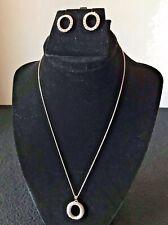 """O"" Pendant Chain Necklace Earrings Set Simulated Diamonds Nice!  New!"