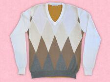 NWOT VICTOR VICTORIA M Sweater Men VNeck White Cream Argyle Merino Wool Pullover