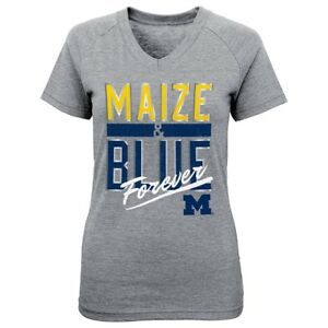 "Michigan Wolverines NCAA Little Girls Grey ""Palladium"" Triblend V-Neck T-Shirt"