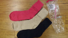 Vtg 3 Pr Lot Ladies School Girl Socks Soft Cotton 9-11 NEW Anklets Slouch NICE