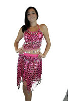 New Gold Tribal Sequins Mermaid Scale Belly Dance Costume Hip Scarf Shawl Set