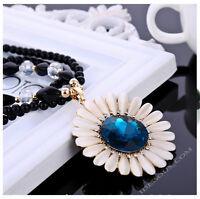 Vintage Damen Perlen Zirkonia Halskette Blogger Kette Collier Blumen Schmuck