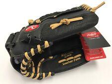 RSS 120C 12 INCH ~ Rawlings Youth Leather Black Baseball Softball Glove ~ New!