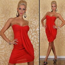 Sz S 8 10 Red Strapless Party Slim Fit Formal Casual Bodycon Cocktail Mini Dress
