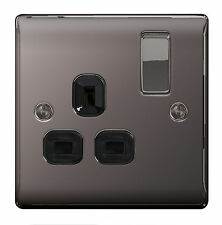 10 x BG Nexus Metal NBN21B - BLACK NICKEL Chrome Single Plug Socket 1 Gang 13A