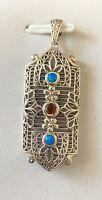 """Australian Opal & Fire Garnet 925 Solid Sterling Silver Vintage Pendant 1 3/4"""""""