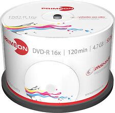 50 Primeon DVD-R photo on disc Bedruckbar Full Printable Spindel 4,7GB 16x
