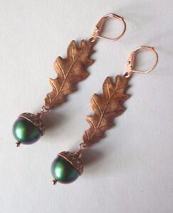 Dark Green Metallic Rainbow and Copper Acorn and Oak Leaf Leverback Earrings