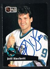 Jeff Hackett #331 signed autograph auto 1991-92 Pro Set Hockey Trading Card