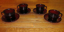 Set of 4 Ruby Red Cranberry Cups & Saucers France French Arcoroc Clear Dinner