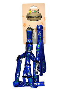 Adjustable Dog Harness with Leash Blue
