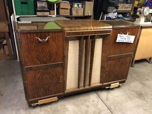 1950s/60s Vintage Garrard Turntable and Radio Unit, Veneer and glass cabinet