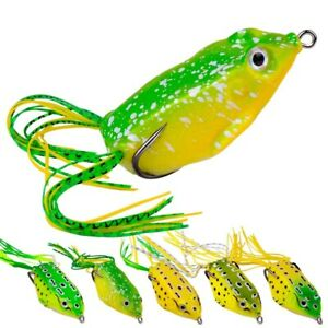 5PCS Topwater Frog Lures Soft Fishing Lures Crankbait Hooks Bass Bait Tackle