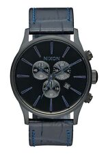 NIB Nixon Sentry Chrono Leather Men's Watch Navy Gator Strap 42 mm A405-2153-00