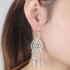 Tribal Indian Retro Silver Dream Catcher Feather Turquoise Bead Dangle Earrings