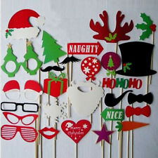 28 pcs Christmas Photo Booth Props Lips Mustache on a Stick Party Supplies New