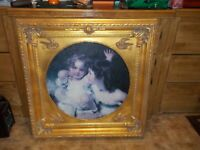 Antique Oil Painting with An Ornate Victorian Gilt Wooden Frame