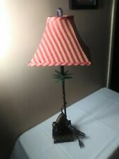 Monkey And Palm Tree Table Lamps 30 Inches Tall With Fabric Shade Used.