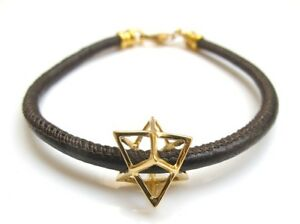 Kabbalah Merkaba Merkabah Chariot Protection gold filled brown leather bracelet