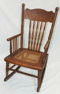 Old Antique Small OAK Pressed Back Caned Seat CHILD'S ROCKING CHAIR