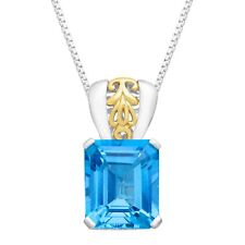 7 3/8 ct Baby Natural Swiss Blue Topaz Pendant in Sterling Silver & 10K Gold