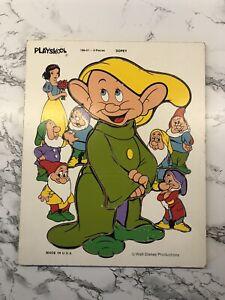 Vintage Wooden Puzzle Playskool Dopey Snow White 9 Pieces Walt Disney USA