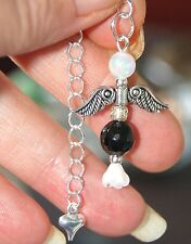 Black Tourmaline & Opalite Crystal Angel Penduulum Pendant Boxed Gift Protection