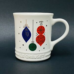 NEW Le Creuset Limited Edition Christmas ORNAMENTS on White Coffee Mug