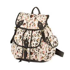 Pastel Leopard Print Canvas and Black Faux Leather Trim Backpack School Bag -NWT