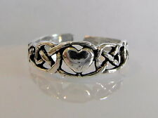 Sterling Silver (925) Adjustable Heart Toe Ring ! Brand New !
