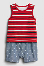 Baby Gap Printed 2 in 1 Sz 6-12 Mo NEW Blue Red White Chambray Striped One Piece